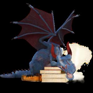 Drache bewacht Bücher